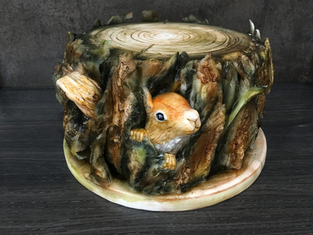 Squirrel and Log cake