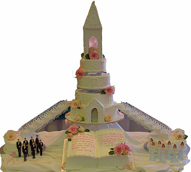 Church, buttercream and steeple wedding cake
