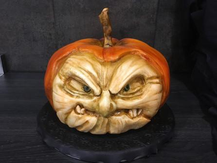 Carved pumpkin Halloween cake