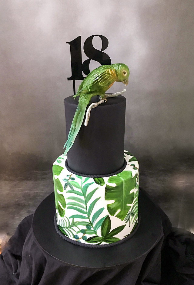 Bird and Handpainted leaf cake