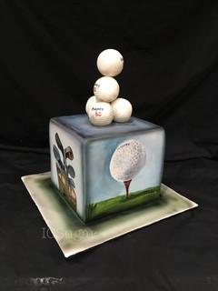 Handpainted Golf Cake