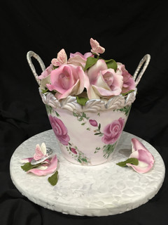 Pink Flower Basket CAke