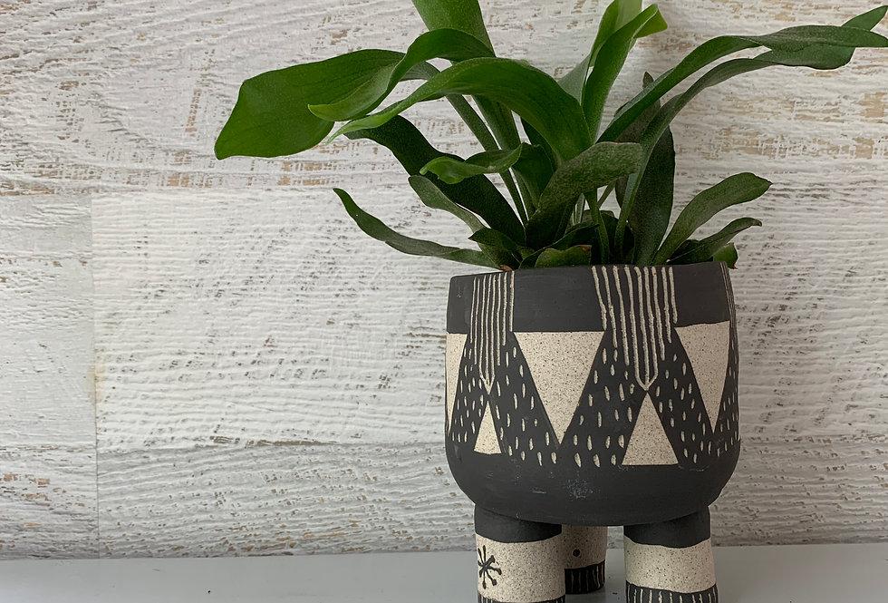 Black on Grey Speckle Planter