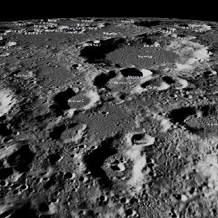Предполагаемая область посадки модуля «Викрам». Снимок получен с помощью камеры лунного орбитального аппарата (LRO).