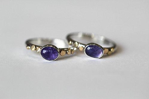 Gold Pebble and Tanzanite ring
