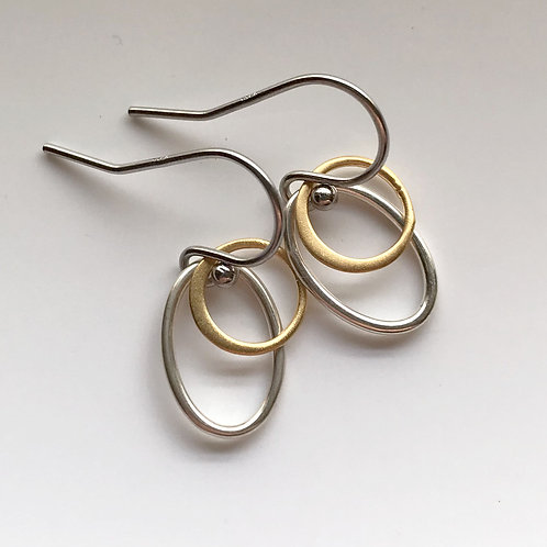 Tiny Silver and Gold Ovals