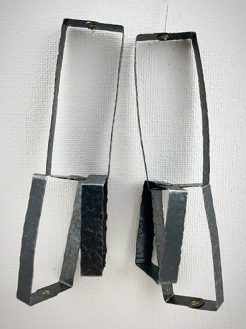 Oxidized triple rectangle statement earring