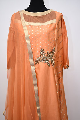 Designer Orange Abaya Style Salwar Suit