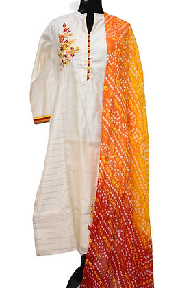 Chanderi Silk White Churidaar Suit