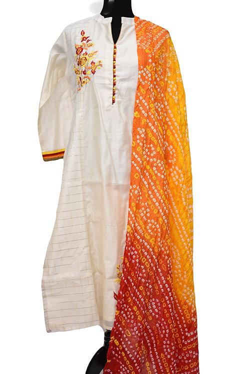 Chanderi Silk White Churidaar Suit