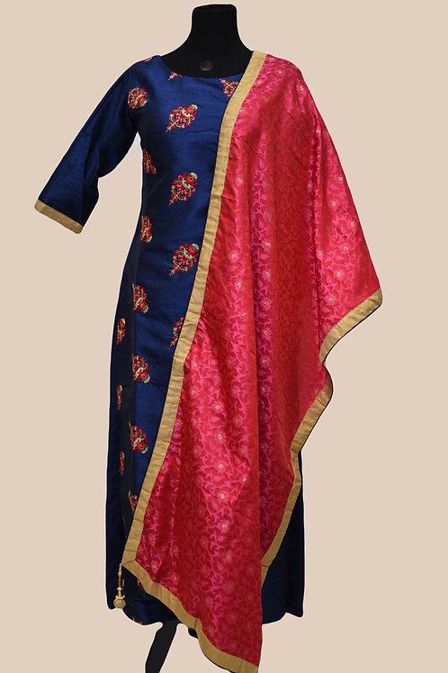 Blue Pink Silk Churidaar Suit