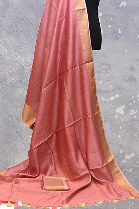 Blush Pink Muga Tassur Silk Saree