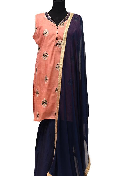 Peach Blue Patiala suit