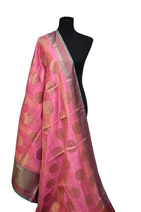 Pink Matka Silk Saree