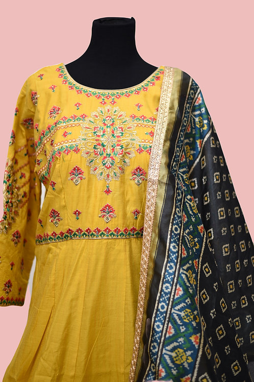 Yellow Chanderi Silk Salwar Suit