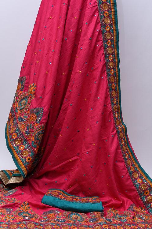 Pink Mirror Silk Saree