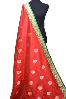 Pure Katan Banarasi Silk Red Saree