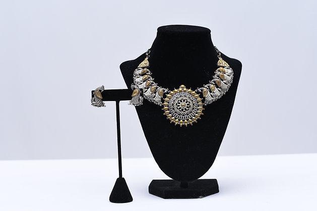 Oxidized Dual Tone Necklace Set