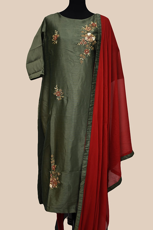 Green Red Churidaar Suit