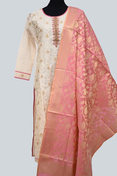 Cream Pink Churidaar Suit