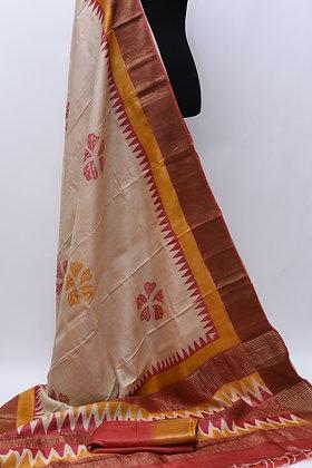 Tussar Silk Cream Red Saree