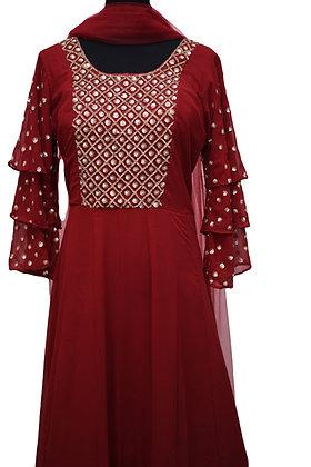 Maroon Georgette Abaya Suit