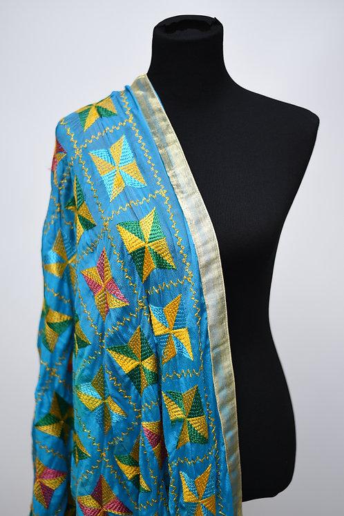 Blue Fulkari Silk Dupatta