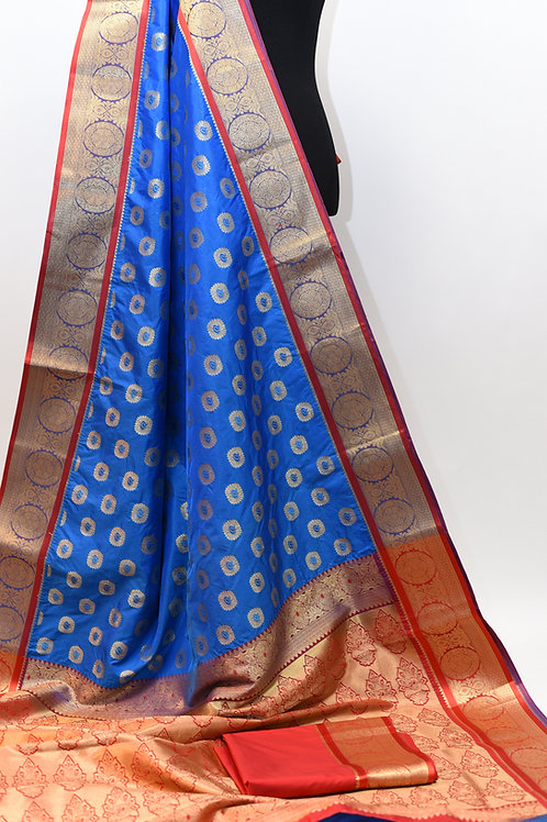 Blue Red Paithani Saree