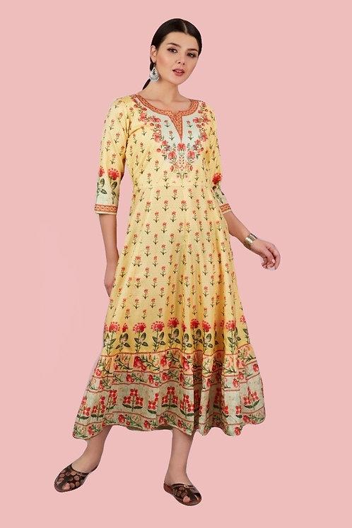 Yellow Digital Printed Silk Kurti
