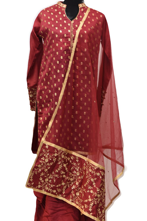 Maroon Cotton Silk Patiala Suit