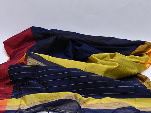 Blue Handloom Cotton Silk