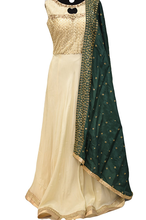Cream Silk Salwar Suit
