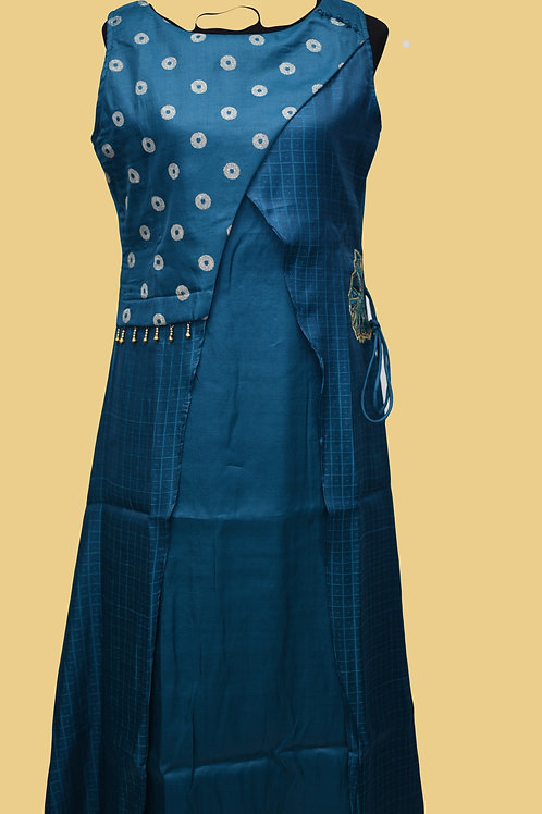 Chanderi Silk Blue Flair Kurti