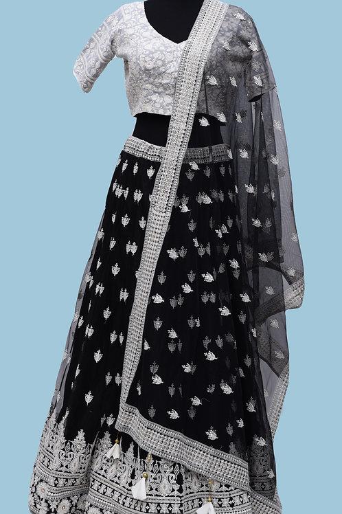 Black White Lehanga Choli