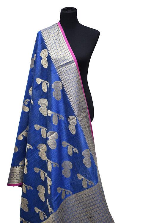 Blue Matka Silk Saree
