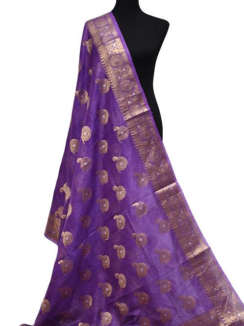Purple Banarasi kora silk saree