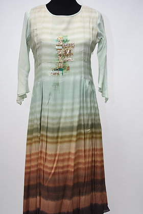 Mint Green and Brown A Line Flared Kurta