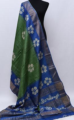 Tussar Green Blue Silk Saree
