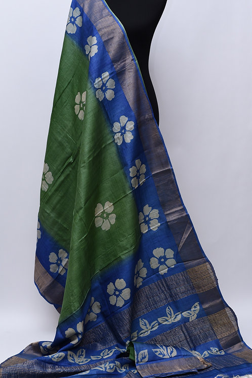 Tussar Green Blue Silk Saree