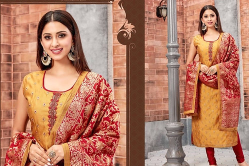 Yellow Red Churidar Straight Suit