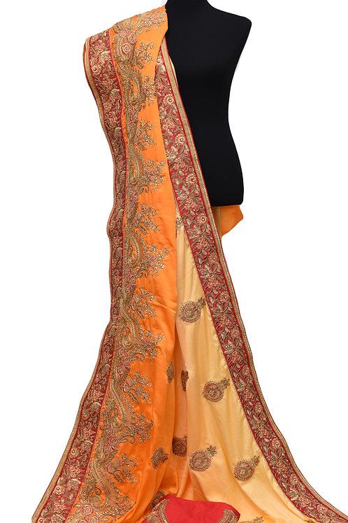 Yellow Orange Satin Silk Saree