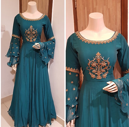 Faux Georgette Bell Sleeves Gown
