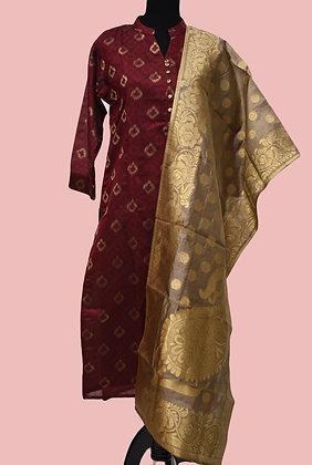 Maroon Golden Suit set