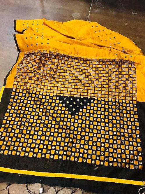 Cotton Silk Cut Work Saree