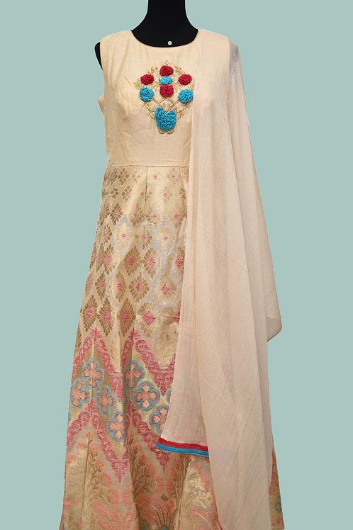 Cream Banarasi Abaya Salwar Suit