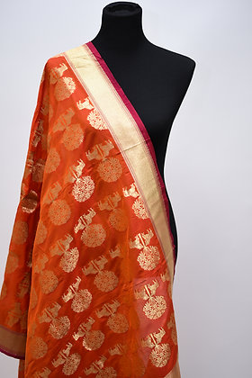 Orange Banarasi Silk Dupatta