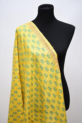 Yellow Printed Silk Dupatta