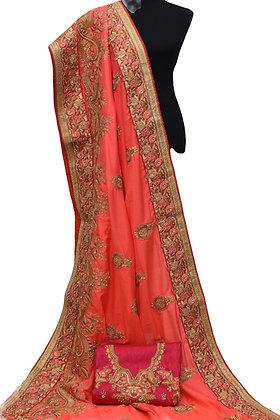 Coral Wedding Designer Saree