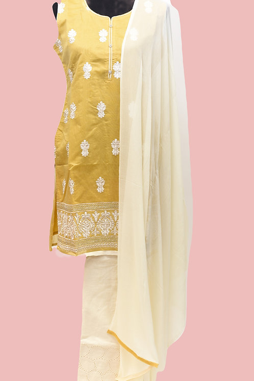 Mustard Yellow Cream Patiala Suit