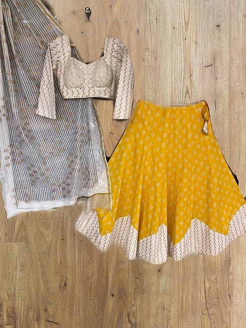 Yellow cotton Lehanga Choli